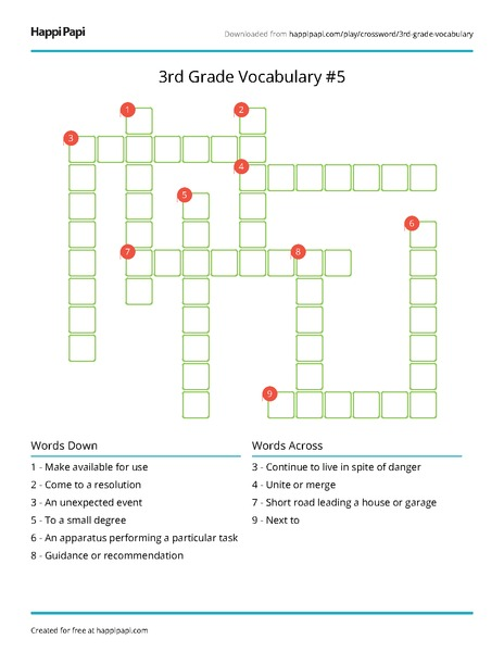 3rd Grade Vocabulary 5 Free Crossword Puzzle Worksheets Happi