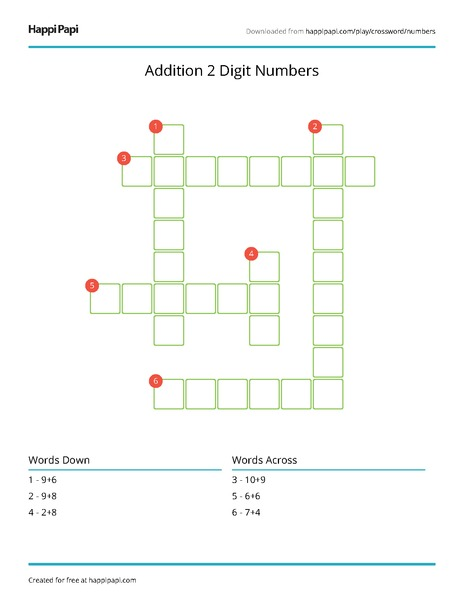 Addition 2 Digit Numbers Free Crossword Puzzle Worksheets Happi Papi