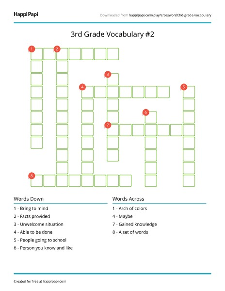photograph about 3rd Grade Crossword Puzzles Printable called 3rd Quality Vocabulary #9 Totally free Crossword Puzzle Worksheets