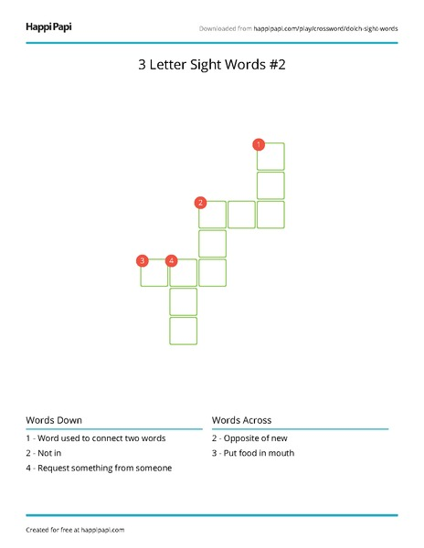 3 Letter Sight Words #2