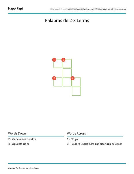 Palabras De 2 3 Letras Free Crossword Puzzle Worksheets Happi Papi