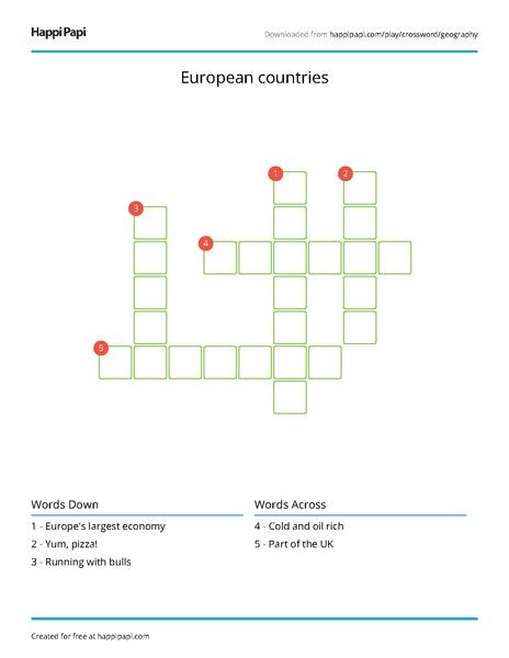 European Countries Free Crossword Puzzle Worksheets Happi Papi