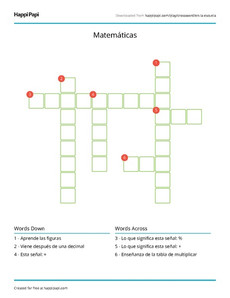 Matemáticas | Free Crossword Puzzle Worksheets | Happi Papi