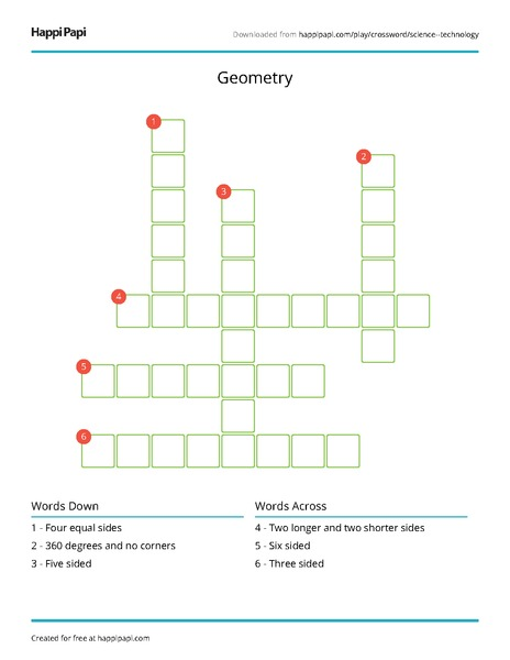 geometry free crossword puzzle worksheets happi papi. Black Bedroom Furniture Sets. Home Design Ideas