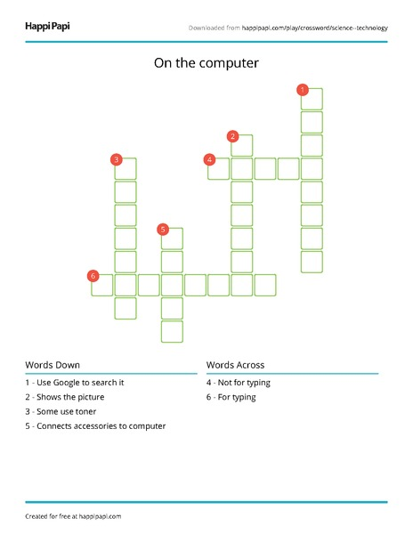 graphic regarding Science Crossword Puzzle Printable referred to as Upon the computer system No cost Crossword Puzzle Worksheets Happi Papi
