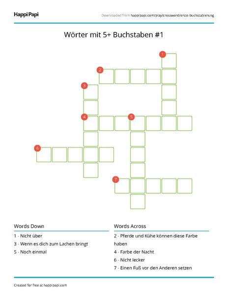 Wörter mit 5+ Buchstaben #1 | Free Crossword Puzzle ...